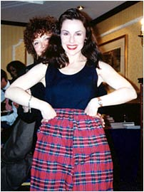 Modeling the tartan trousers given to me by Kathryn Falk, Founder of Romantic Times, to wear as I wrote my next Scottish book!