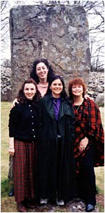 Standing in front of one of the mysterious ancient stones of Clava Cairns with (L to R): Kate Ryan of Romantic Times, author Diana Gabaldon and Kathryn Falk.